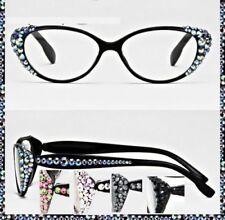 Crystal Rhinestone Oval Reading Glasses Optical Frame Lens Black Bling