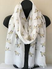 UK Women LABRADOR Dog Print WHITE GREY Scarf Shawl 100% Cotton With Frayed Edges