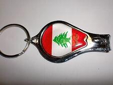 LEBANESE FLAG ON NAIL CLIPPER WITH FILE & BOTTLE OPENER AND KEYRING LEBANON