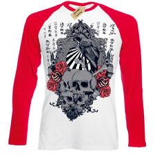 Sunrise T-Shirt japanese skulls roses crow chinese gothic Mens Baseball Top