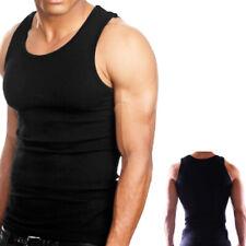 3Pc 100% Cotton Mens A-Shirt Ribbed Tank Top Sport Undershirt Black