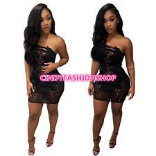 Summer Women Sexy  Strapless Bandage Black Patchwork Lace Sexy Club Mini Dress
