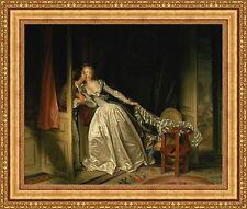 "Jean Honore Fragonard The Stolen Kiss Framed Canvas Print 32""x27"" (V02-11)"