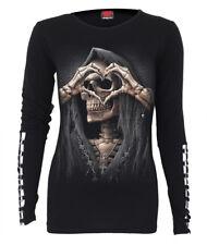 SPIRAL DIRECT DARK LOVE Buckle Cuff Long Slve Top/Skull/Biker/Heart/Reaper/Tee