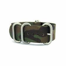 5-Ring Woodland Camo Nylon Military ZULU Watch Strap (Steel 20mm, 22mm)