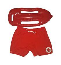 Homme Maître-nageur gilets 8-16 Fancy Dress Costume Outfit Beach Party Jaune Rouge Haut