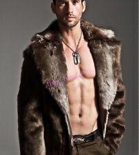 Hot Mens Winter Warm Long  Thick  Faux Fur Coat Casaul Outwear Overcoats Parka