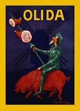 Prosciutto Riding Pig Pork Food Olida Restaurant Vintage Poster Repro FREE S/H