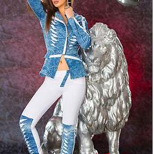 Damen Jeans 2-Teiler Jeansjacke Röhrenhose Freizeitanzug Blazer Blau Weiß XS-L