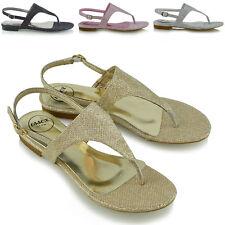 Womens Toe Post Sandals Ladies Glitter Flat SlingBack Holiday Summer Beach Shoes