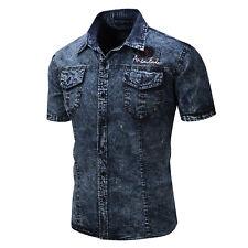 New Mens Denim Washed Cotton Short Sleeves Shirts US Size S-XXL XD127