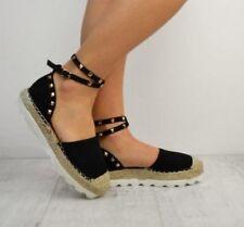 Ladies Gold Studded Platform Flats/Sandals - Suede/Hessian - Black UK Sizes 3-7