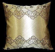 HC345a Light Bronze Gold Deep Brown Floral Jacquard Cushion Cover/Pillow Case