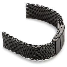Matte Black Shark Mesh Stainless Steel Watch Band Strap fits Seiko