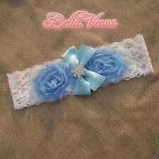 Vintage White Lace Wedding Bridal Garter Blue Flowers Plus Size