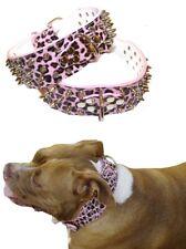 Dog Collar Studded Pink Leopard  S M L XL -Staffy Big Girl Spiked Stud Spike Pet