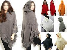 New Urban Style Winter Women Poncho w.Hood Batwing Cape Sweater Top/Coat #P601