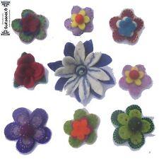 Filz Felt Blume flower Anstecknadel Badge Brosche ethno Nepal Elfen goa pixie