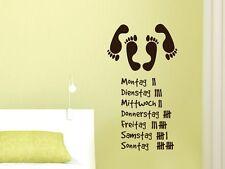 Wandtattoo Aufkleber Design Wanddeko für Schlafzimmer Wochentage Füße