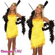 1920s 20s Flapper Charleston Fancy Dress Costume Yellow Gatsby Necklace Boa