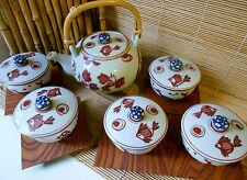 NIB WHIMSICAL JAPANESE FINE CERAMIC TEA SET PRIMITIF MOTIF 5 CUPS & WOOD SAUCERS