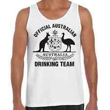 Mens Tank Singlet Australian Drinking Team Funny Humour Straya Oz Beer Aussie