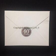 "Metallic Silver ""40th FORTIETH"" Envelope Seal Anniversary Birthday Invitation"