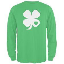 St. Patricks Day Shamrock Heart Green Adult Long Sleeve T-Shirt