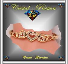 """Jonc Bangle Bracelet cristal autrichien """"5 Coeurs """" doré à l'or fin et zirconium"""