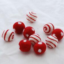 100% Wool Felt Balls - 10 Swirl / Polka Dots Felt Balls - 2.5cm - Red