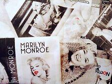 Marilyn Monroe en Tissu De Coton Rideau Tapisserie Matériau 280 cm Extra Large Noir
