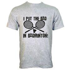 I Put The Bad In Badminton Men's Grey T-shirt
