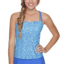 Malibu Blue Open Back Bandeau Tankini Top Swimsuit Juniors' Ladies XS