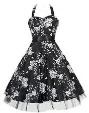 New Black Floral 40's 50's Vtg Rockabilly Jive Swing H/Neck Prom Dress 8 to 26
