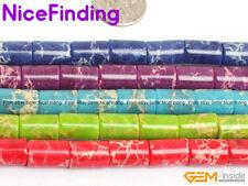 "Column Sea Sediment Jasper Crazy Lace Agate Tube Stone Beads Jewelry Making 15"""