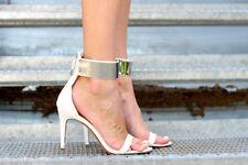 ZARA blanc talon haut Sandales avec métallique bride cheville taille 37 39 40