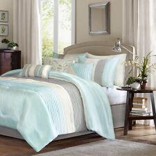 Luxury Aqua Grey Pieces Comforter Shams Pillows set 7 pcs Cal King Queen Bedding