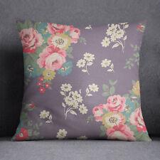 S4Sassy Floral imprimé gris coussin décoratif de la couverture de jet