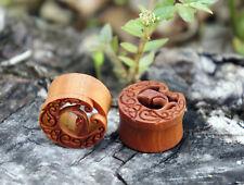 "Pair Sono Wood Elven Moon Flesh Tunnel Double Flared Ear Plugs Handmade 0G-1"" US"
