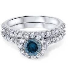 1 7/8ct Treated Blue Diamond Halo Engagement Wedding Ring Set White Gold Round