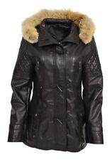 Womens Slim Fit Duffle Leather Coat Detachable Hoodie Classic Parka Ariel Black