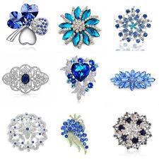 Luxury Vintage Style Bridal Wedding Prom Corsage Blue Flower Brooch Decoration