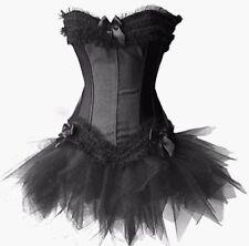 Bustier Corset Top Burlesque Basque Fancy Dress Boned Shaper & BLACK XMAS GIFT