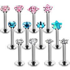 4PCS/Set 16G Crystal Tragus Lip Ring Ear Cartilage Stud Earring Bars Piercing PQ