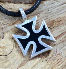 925 Silber kleines Eisernes Kreuz Ketten-Anhänger Black Iron Cross Malteser