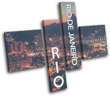 Rio de Janeiro Night  City MULTI DOEK WALL ART foto afdrukken