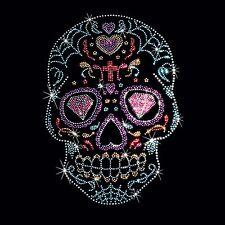 Rhinestone Studs Sugar Skull T Shirt Mens Spider Web Hearts Black Shirt S to 4XL