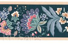 Green Jacobean Flower Burgundy Pink Flower Blueberry Blue Wallpaper Wall Border