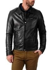 PROMOZIONE Giacca Giubbotto in di Pelle Uomo Men Leather Jacket Veste r85 TG.48
