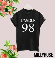L'AMOUR 98 LOVE LADIES WOMENS SLOGAN WHITE BLACK T SHIRT TEE TSHIRT GIFT